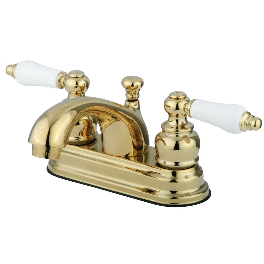 Kingston Brass Kb2602pl 4 Centerset Lavatory Faucet Porcelain Lever Handle Polished Brass