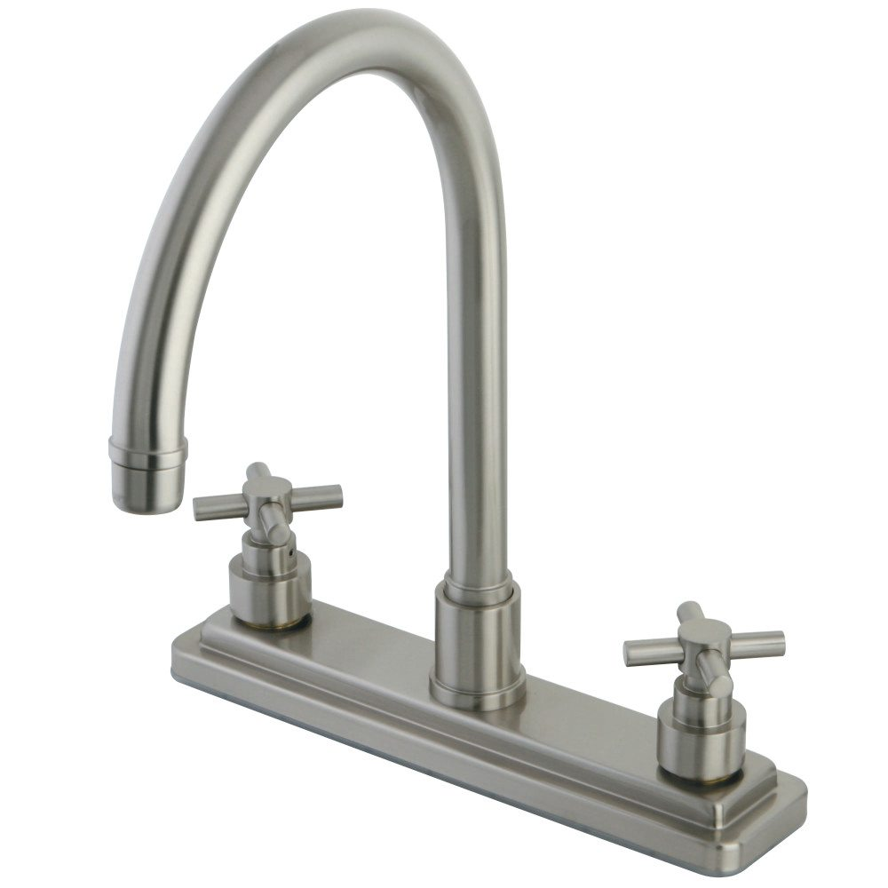 Kingston Brass KS8798EXLS Twin Cross Handles 8-Inch Kitchen Faucet ...