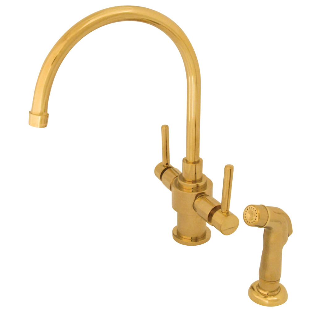 Kingston Brass KS7702DLSP Two Lever Handles Kitchen Faucet With ...