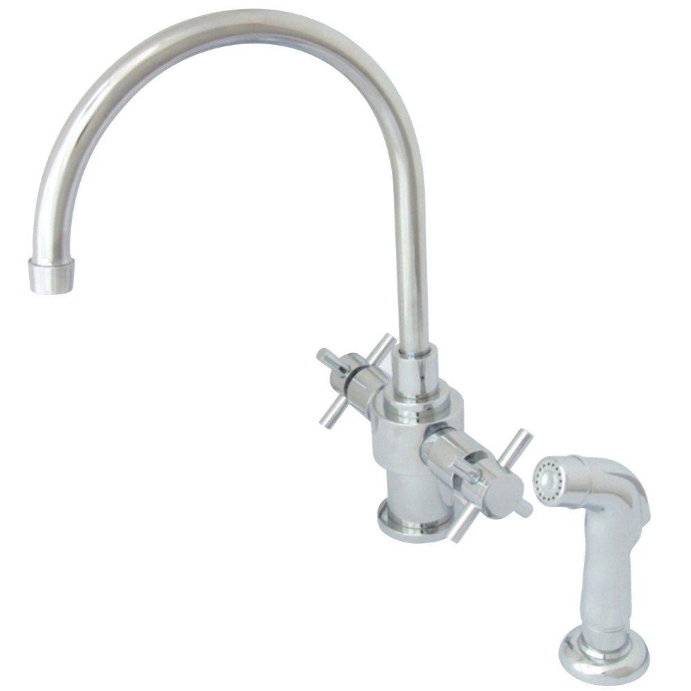 Kingston Brass KS7701DXSP Two Cross Handles Kitchen Faucet with ...
