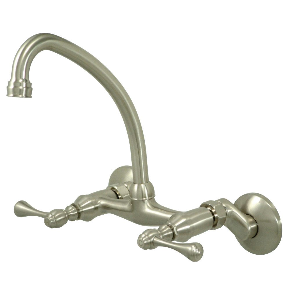Kingston Brass Ks314sn High Arch Spout Wall Mount Kitchen Faucet With Lever Handle Satin Nickel