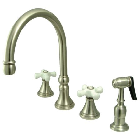 Kingston Brass KS2798PXBS Widespread Goose Neck kitchen faucet with metal side sprayer