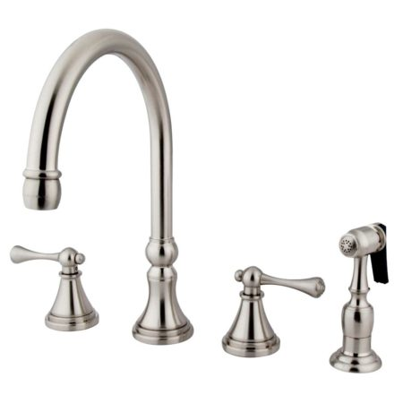 Kingston Brass KS2798BLBS Widespread Goose Neck kitchen faucet with metal side sprayer