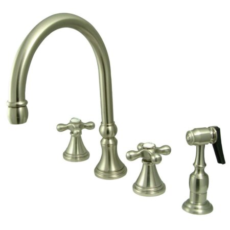 Kingston Brass KS2798AXBS Widespread Goose Neck kitchen faucet with metal side sprayer