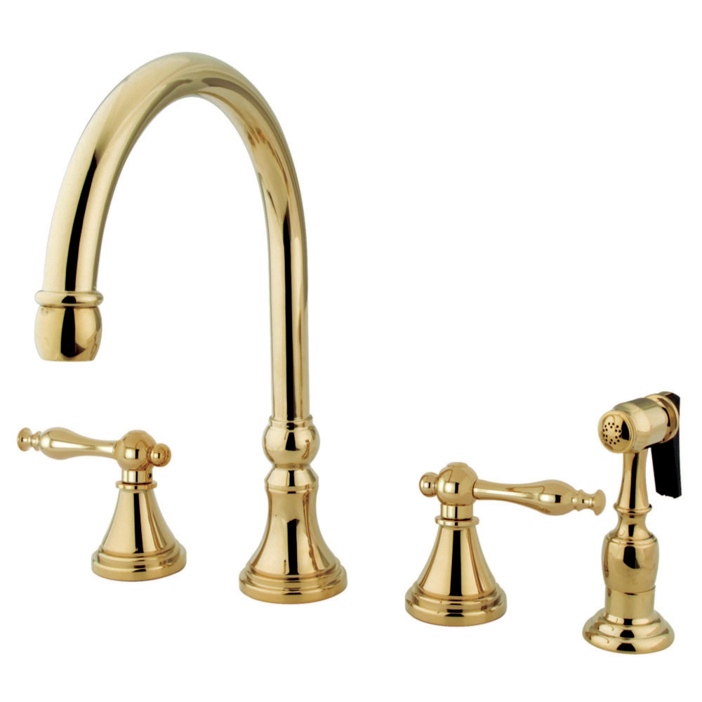 Kingston Brass Ks2792nlbs Governor 8 Deck Mount Kitchen Faucet With Brass Sprayer Polished