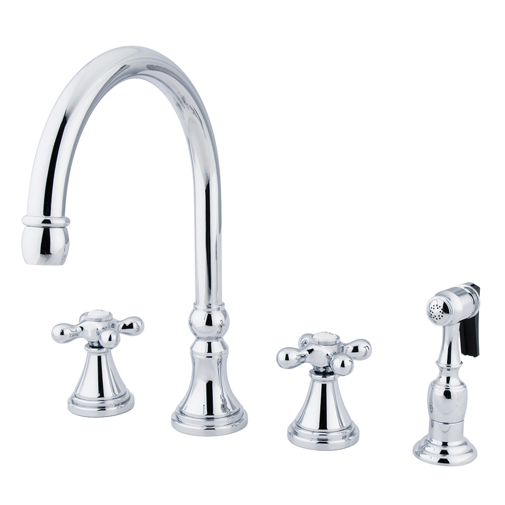 kingston brass ks2791axbs governor 8 deck mount kitchen faucet with brass sprayer polished. Black Bedroom Furniture Sets. Home Design Ideas