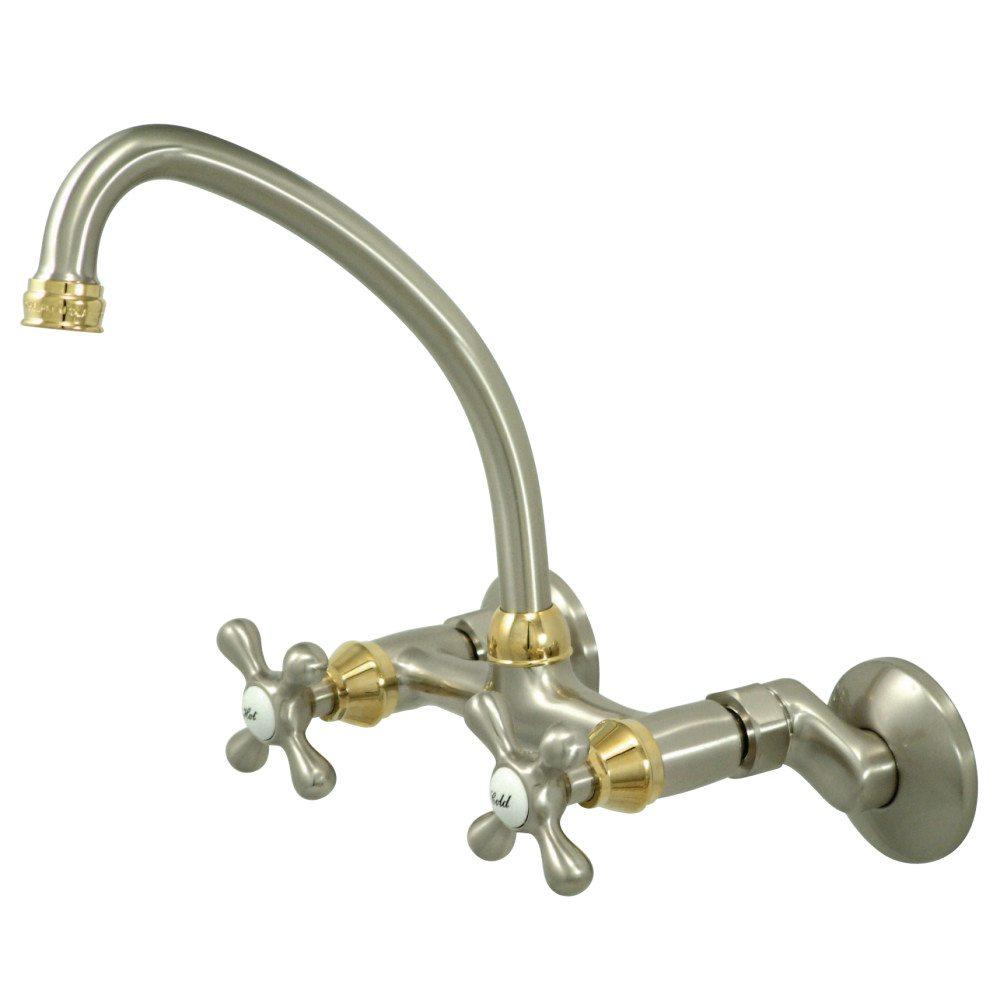 Kingston Brass Ks214snpb 3 1 2 8 1 2 Wall Mount Kitchen Faucet With Cross Handle Satin