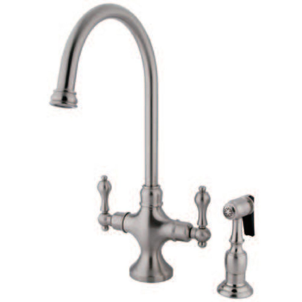 kingston brass ks1768albs vintage classic kitchen faucet with brass sprayer brushed nickel. Black Bedroom Furniture Sets. Home Design Ideas