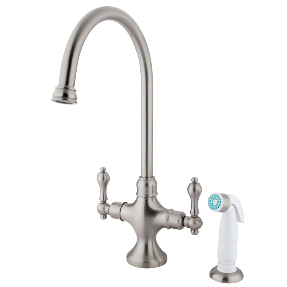 Kingston Brass KS1768AL Vintage Classic Kitchen Faucet With White ...