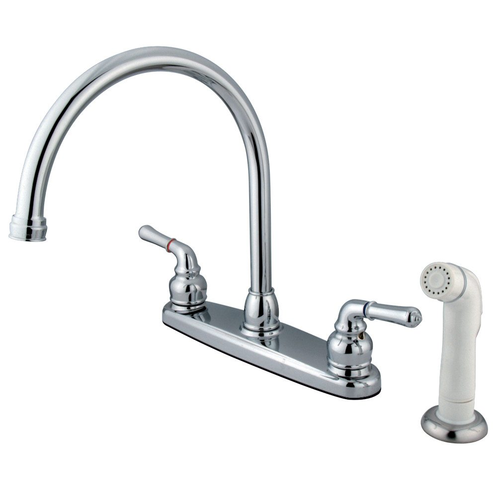 Kingston Brass KB791 8 Inch Center Two Handle Goose Neck Kitchen Faucet  With Side Sprayer