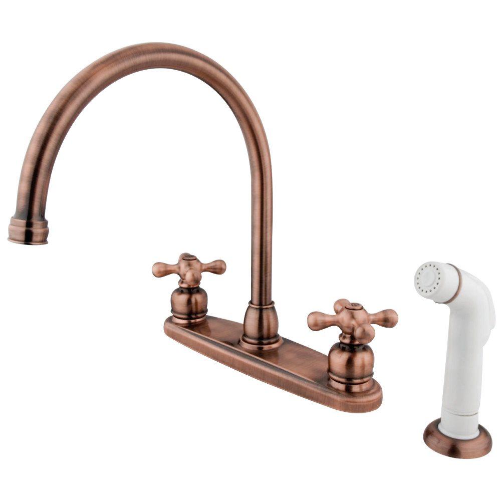 Kingston Brass KB726AX Gooseneck Kitchen Faucet With Cross Handle ...