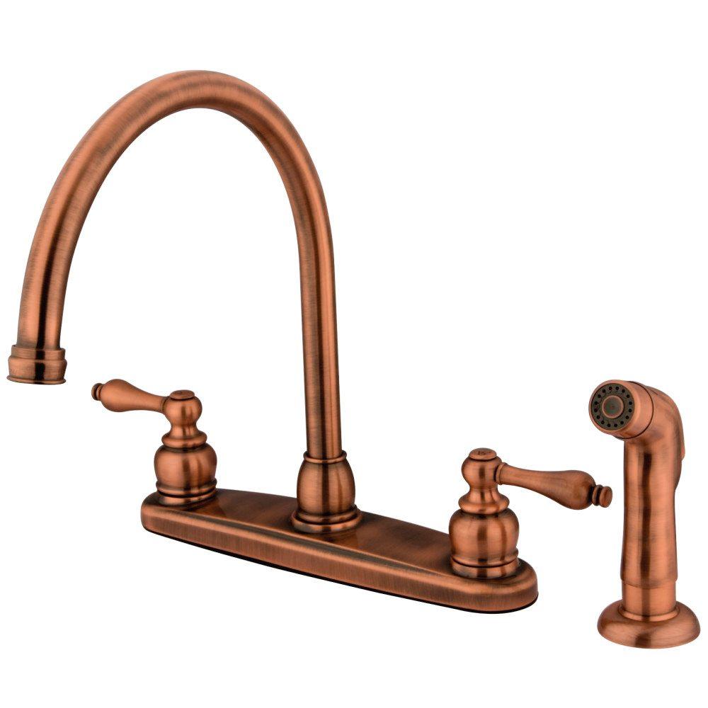 Kingston Brass KB726ALSP Vintage Gooseneck Kitchen Faucet With ...