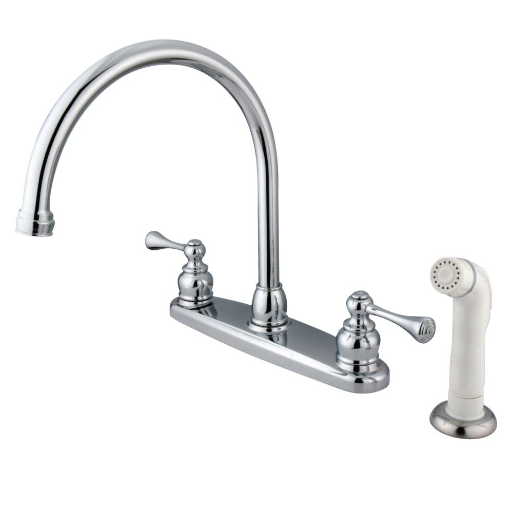 Kingston Brass KB721BL Gooseneck Kitchen Faucet With White