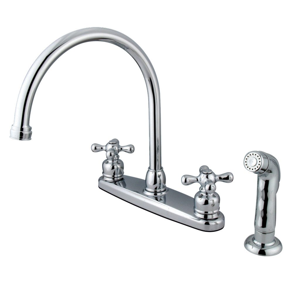 Beautiful Gooseneck Kitchen Faucet #26 - Kingston Brass KB721AXSP Vintage 8 Inch Center Two Handle Goose Neck Kitchen  Faucet With Side Sprayer