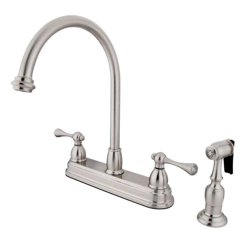 Kingston Brass Kb3758blbs Vintage 8 Centerset Kitchen Faucet With Brass Sprayer Satin Nickel