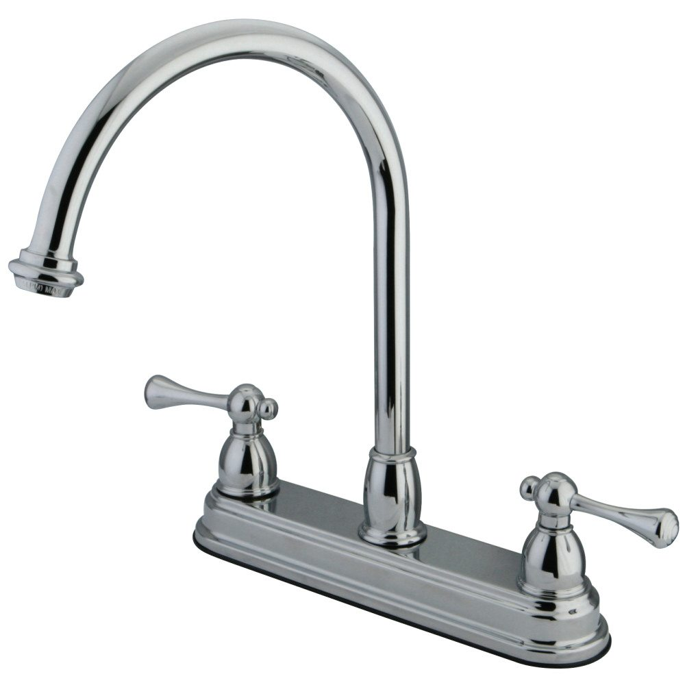 Kingston brass kb3741bl 8 inch centerset kitchen faucet - Bathroom sink faucet with sprayer ...