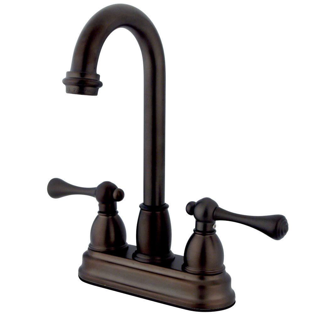 Kingston brass kb3495bl vintage 4 inch centerset bar - Antique brass bathroom faucet centerset ...