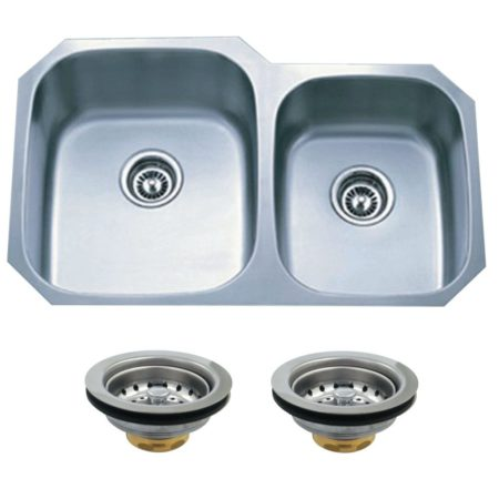 Kingston Brass KGKUD3221 UNDERMOUNT SS DOUBLE BOWL KIT SINK COMBO WITH STRAINERS