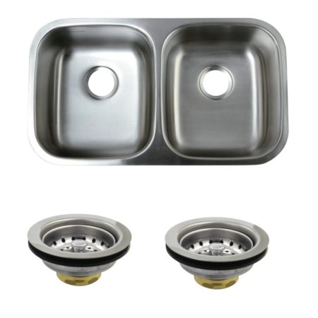 Kingston Brass KGKUD3118 UNDERMOUNT SS DOUBLE BOWL KIT SINK COMBO WITH STRAINERS