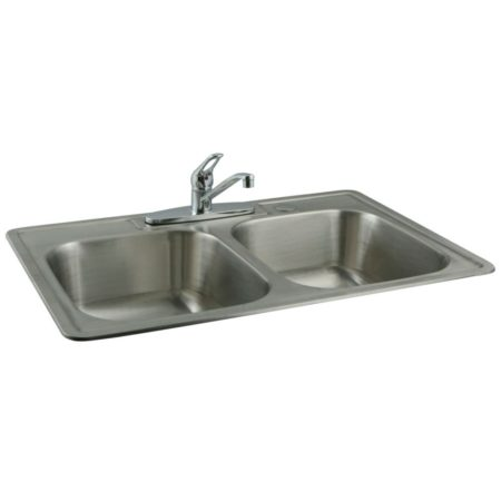 Kingston Brass KZ33227K561 Kingston Brass KZ33227K561 Stain Steel Kit Sink Combo with Faucet and Strainers, Brushed Nickel