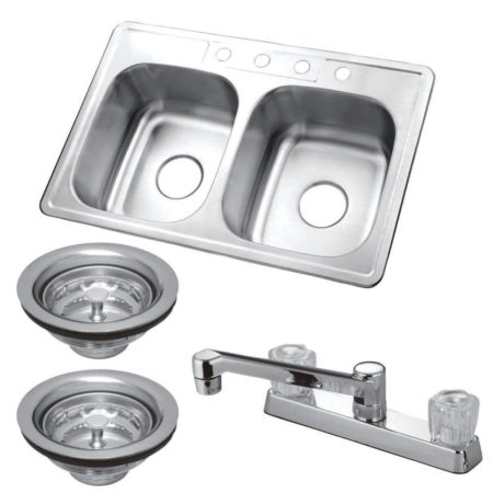 Kingston Brass KZ33226 Self-Rimming Double Bowl Kit Sink W/Fct & Strainer  Bn