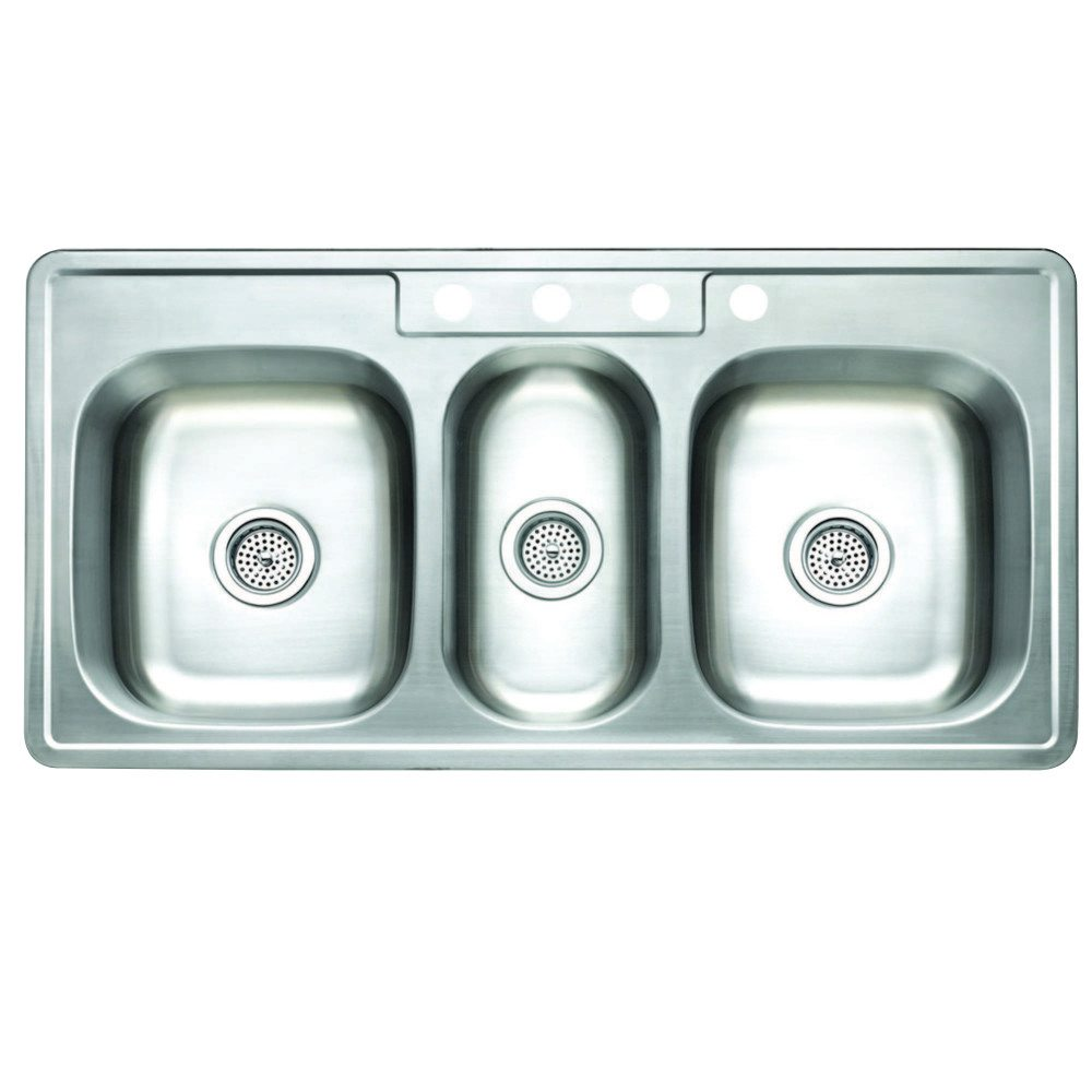 Triple Bowl Kitchen Sinks Kingston brass studio gkt5021969tbn self rimming triple bowl kitchen kingston brass gkt5021969tbn self rimming triple bowl kit sink 43x22 068mm 22g workwithnaturefo