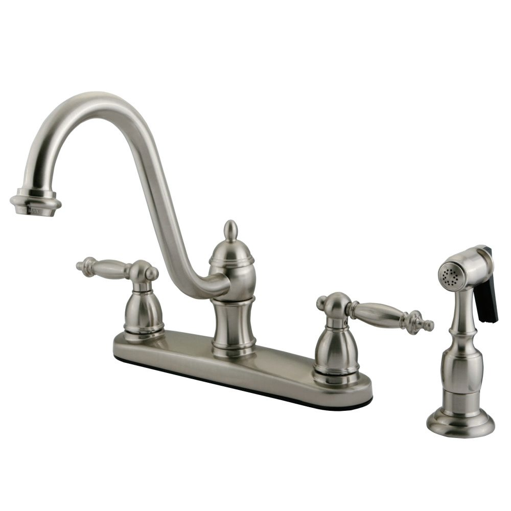 kingston brass kb3118tlbs templeton 8 kitchen faucet with brass sprayer brushed nickel. Black Bedroom Furniture Sets. Home Design Ideas