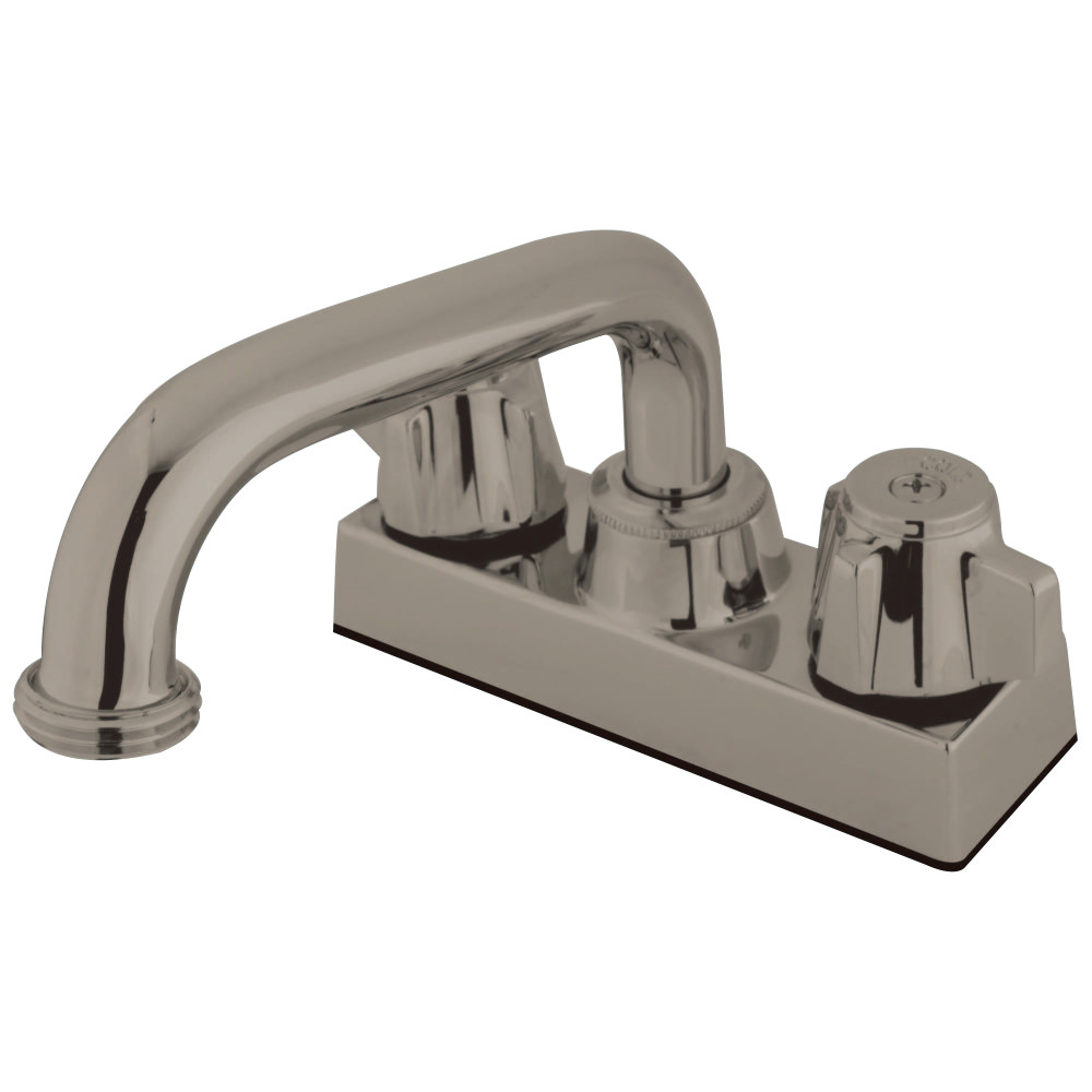 "Kingston Brass KB471SN 4"" LAUNDRY TRAY Faucet with 6"" SPOUT & HOSE THREAD ADAPTOR, Satin Nickel"