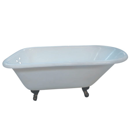 "Kingston Brass Aqua Eden 54"" Cast Iron Roll Top Clawfoot Tub with 3-3/8"" Tub Wall Drillings"