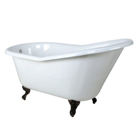 "Kingston Brass Aqua Eden 60"" Cast Iron Slipper Clawfoot Bathtub with Oil Rubbed Bronze Feet"