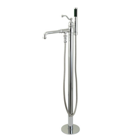 Kingston Brass KS7031ABL English Country Single Handle Freestanding Roman Tub Filler with Hand Shower, Chrome
