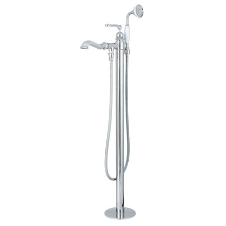 Kingston Brass KS7011RL Royale Freestanding Roman Tub Filler with Handshower, Polished Chrome