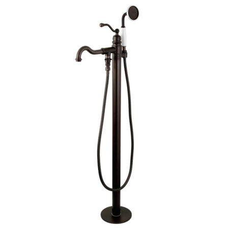 Kingston Brass KS7135ABL English Country Single Handle Freestanding Roman Tub Filler with Hand Shower, Oil Rubbed Bronze