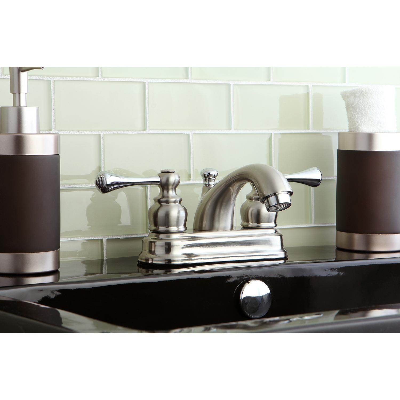 Kingston brass kb3607bl 4 centerset bathroom faucet for Chrome or brushed nickel kitchen faucet