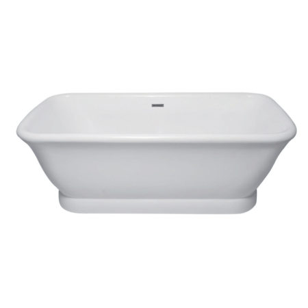 "Kingston Brass Aqua Eden 71"" Contemporary Pedestal Double Ended Acrylic Bath Bath Tub with Drain, White"