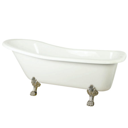 "Kingston Brass Aqua Eden 67"" Slipper Acrylic Bath Tub with Satin Nickel Constantine Lion Feet and 7"" Deck Drillings"