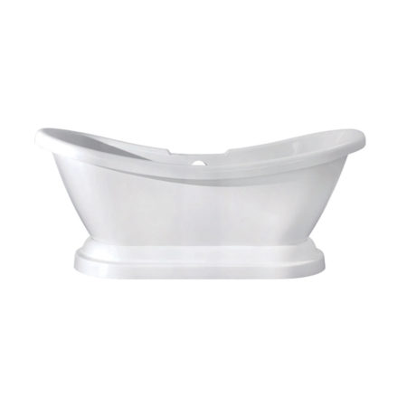 "Kingston Brass Aqua Eden 69"" Contemporary Pedestal Double Slipper Acrylic Bath Bath Tub with 7"" Deck Drillings, White"