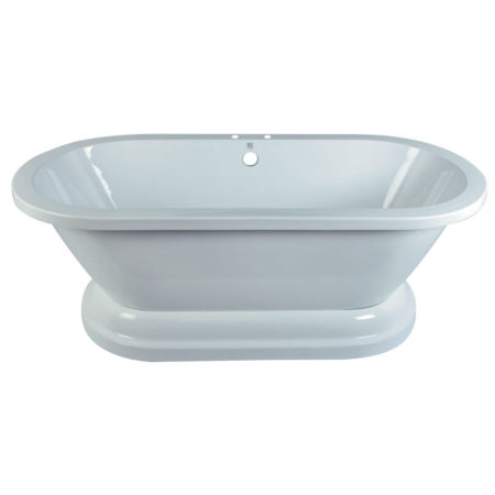 "Kingston Brass Aqua Eden 67"" Contemporary Pedestal Double Ended Acrylic Bath Bath Tub, White"