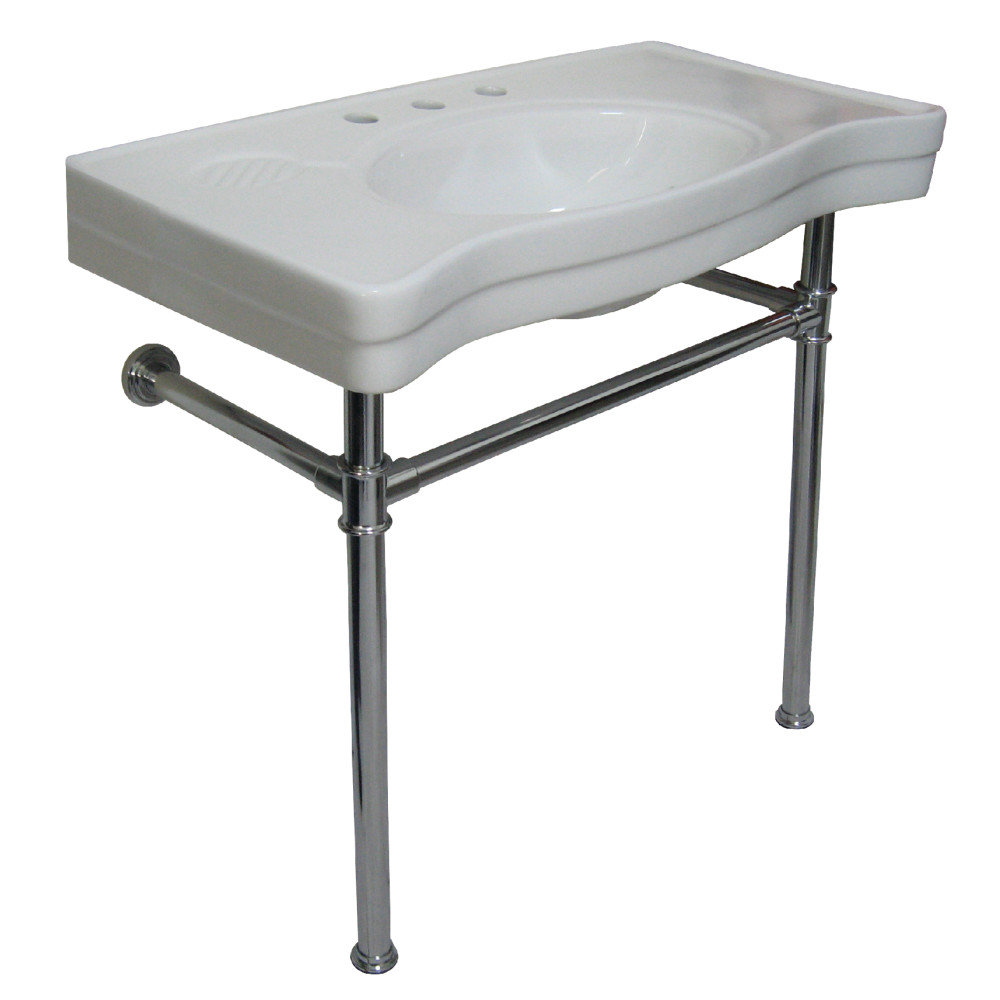 Lovely Fauceture VPB1361ST Vitreous Basin With Stainless Steel Pedestal, Chrome