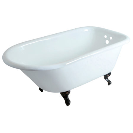 "Kingston Brass Aqua Eden 60"" Cast Iron Roll Top Clawfoot Bath Tub with 3-3/8"" Bath Tub Wall Drillings"