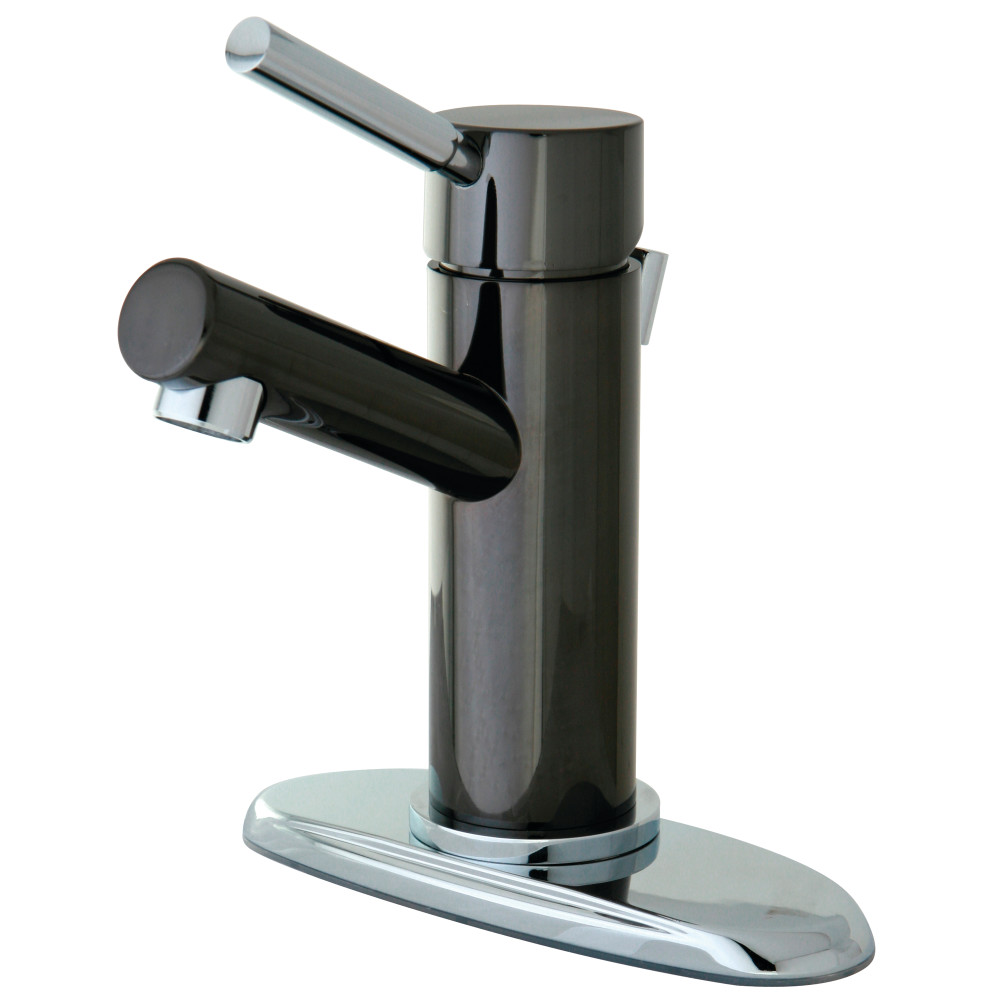 Kingston brass ns8427dl single handle 4 inch centerset lavatory faucet black stainless steel for Stainless steel bathroom faucet