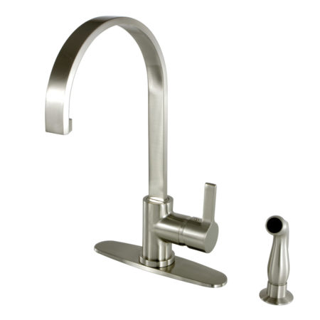 "Gourmetier LS8718CTLSP Continental 8"" Centerset Single Handle Kitchen Faucets with Matching Side sprayer, Satin Nickel"