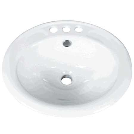 "Kingston Brass LBR19178 Surface-Mount Basin With 4"" Center 3 Faucet Holes, White"