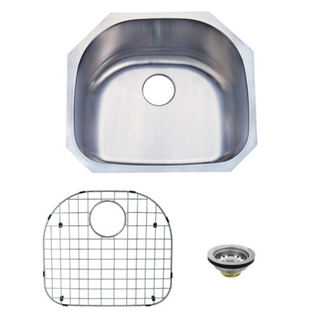 Kingston Brass KZGKUS2321 Undermount Single Bowl Kitchen Sink Combo With Strainer & Grid, Brushed Nickel