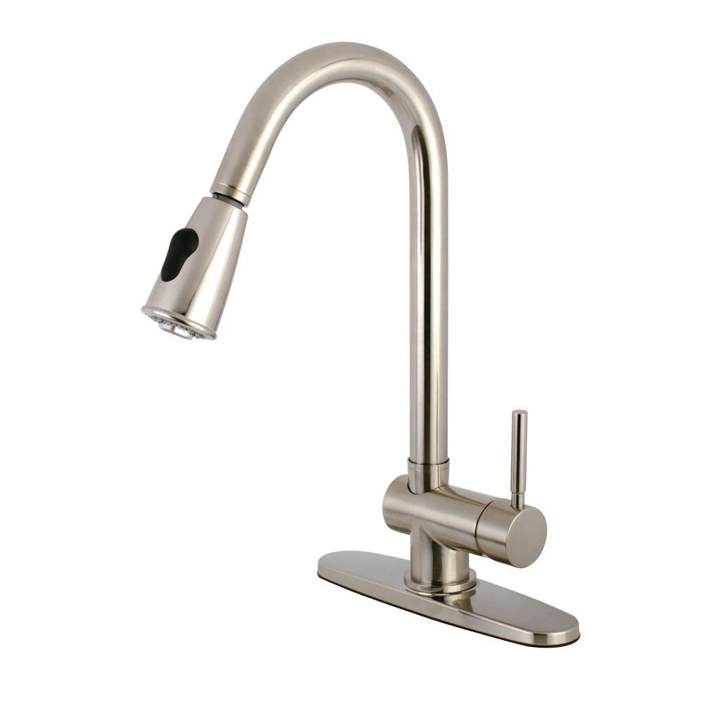 Kingston Brass Ks8898dl Single Handle Pull Down Kitchen Faucet Satin Nickel Kingston Brass