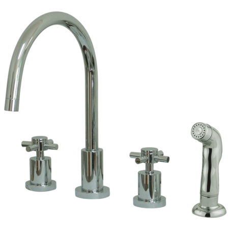 kitchen nickel side widespread with porcelain bridge handle handles faucet brushed lever douglass