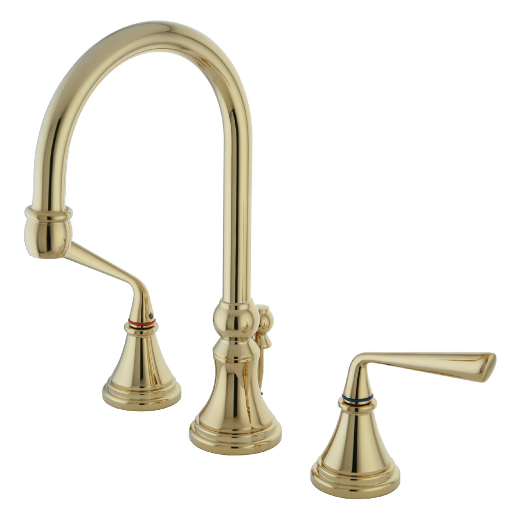 Kingston Brass Ks2982zl Silver Sage Widespread Lavatory Faucet With Pop Up Polished Brass