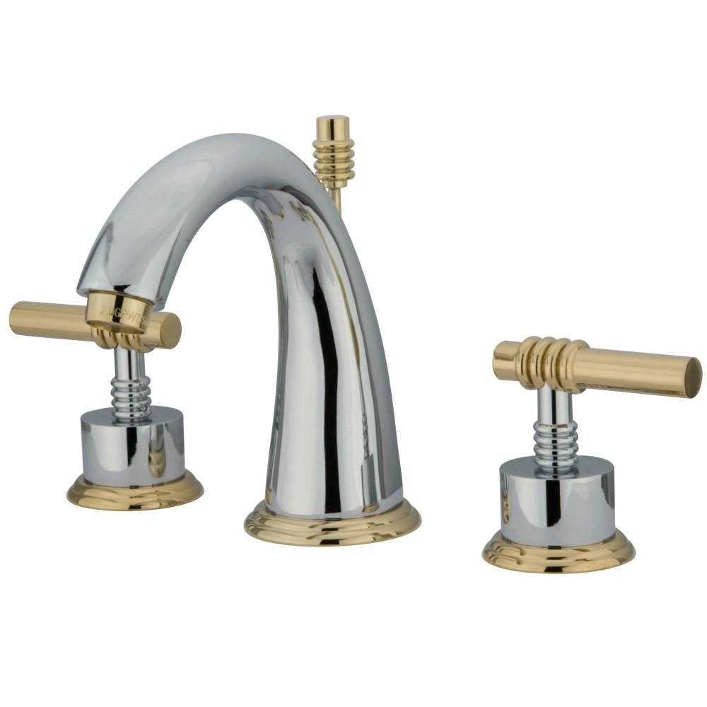 Kingston Brass Ks2964ml Milano Widespread Lavatory Faucet Metal Lever Handle Polished Chrome
