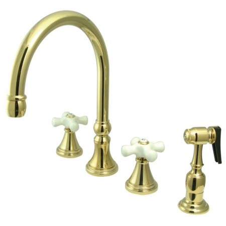 "Kingston Brass KS2792PXBS Governor 8"" Deck Mount Kitchen Faucet With Brass Sprayer, Polished Brass"