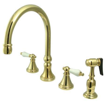 "Kingston Brass KS2792PLBS Governor 8"" Deck Mount Kitchen Faucet With Brass Sprayer, Polished Brass"